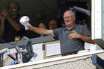 After sixty years with the Pittsburgh Pirates organization, as a pitcher and a broadcaster, Steve Blass acknowledges fans before working the final baseball game of the season between the Pittsburgh Pirates and the Cincinnati Reds in Pittsburgh, Sunday, Sept. 29, 2019. After the game Blass is retiring. (AP Photo/Gene J. Puskar)