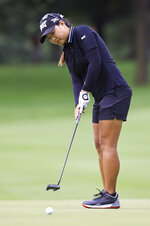 Mina Harigae putts on the No. 16 hole during the second round the LPGA Marathon Classic golf tournament Friday, July 9, 2021, at Highland Meadows in Sylvania , Ohio. (Jeremy Wadsworth/The Blade via AP)/The Blade via AP)