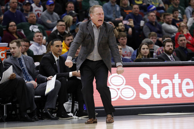 Michigan State head coach Tom Izzo directs his team during the second half of an NCAA college basketball game against Wisconsin in the semifinals of the Big Ten Conference tournament, Saturday, March 16, 2019, in Chicago. (AP Photo/Nam Y. Huh)