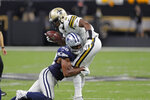 Dallas Cowboys defensive end Robert Quinn (58) sacks New Orleans Saints quarterback Teddy Bridgewater (5)in the first half of an NFL football game in New Orleans, Sunday, Sept. 29, 2019. (AP Photo/Bill Feig)