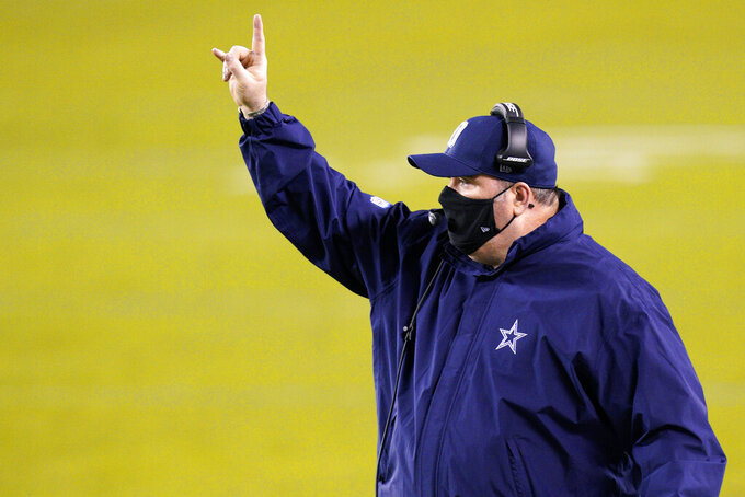 Dallas Cowboys head coach Mike McCarthy directs his team during the first half of an NFL football game against the Philadelphia Eagles, Sunday, Nov. 1, 2020, in Philadelphia. (AP Photo/Chris Szagola)