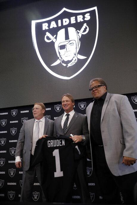 Jon Gruden, Mark Davis, Reggie McKenzie