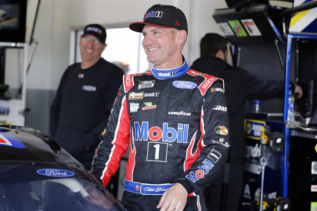 Clint Bowyer gets ready for a NASCAR auto race practice at Daytona International Speedway, Saturday, Feb. 8, 2020, in Daytona Beach, Fla. (AP Photo/Terry Renna)