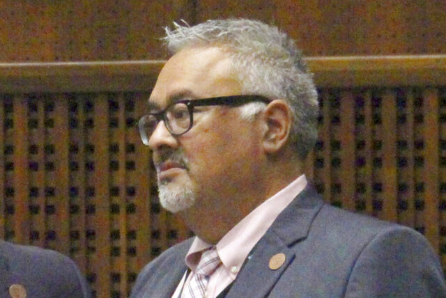 FILE - This May 23, 2019, file photo shows Democratic Rep. Lorenzo Sierra of Avondale during a budget conference in Phoenix. The Arizona lawmaker has been intubated and admitted to the intensive care unit at Johns Hopkins Hospital for treatment of COVID-19, legislative officials announced Monday, Oct. 5, 2020. Sierra was visiting family in Washington when he and his wife fell ill.(AP Photo/Bob Christie, File)