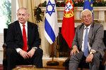 Israeli Prime Minister Benjamin Netanyahu, left, and Portuguese Prime Minister Antonio Costa meet at the Sao Bento palace in Lisbon Thursday, Dec. 5, 2019. (AP Photo/Armando Franca)