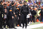 Cincinnati Bengals head coach Zac Taylor watches during the first half of an NFL football game against the Cleveland Browns, Sunday, Dec. 29, 2019, in Cincinnati. (AP Photo/Bryan Woolston)