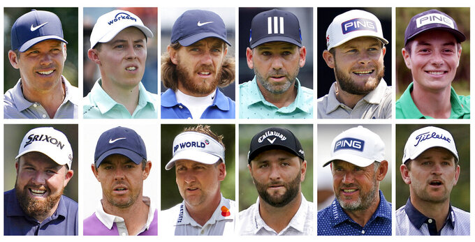 FILE - This combo of file photos shows the 2020 European Ryder Cup golf team. Top row, from left, Paul Casey, Matthew Fitzpatrick, Tommy Fleetwood, Sergio Garcia, Tyrrell Hatton and Viktor Hovland. Bottom row, from left, Shane Lowry, Rory McIlroy, Ian Poulter, Jon Rahm, Lee Westwood and Bernd Wiesberger. The pandemic-delayed 2020 Ryder Cup returns the United States next week at Whistling Straits along the Wisconsin shores of Lake Michigan.  (AP Photo/File)
