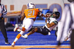 Hawaii wide receiver Lincoln Victor, right, pulls in a touchdown reception against Boise State defensive back Tyreque Jones during the first half of an NCAA college football game Saturday, Oct. 12, 2019, in Boise, Idaho. (AP Photo/Steve Conner)
