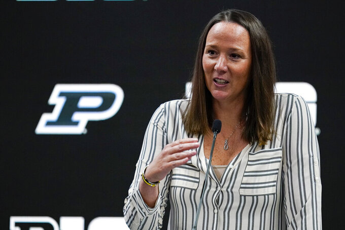 Purdue women's head coach Katie Gearlds speaks during the Big Ten NCAA college basketball media days in Indianapolis, Friday, Oct. 8, 2021. (AP Photo/Michael Conroy)