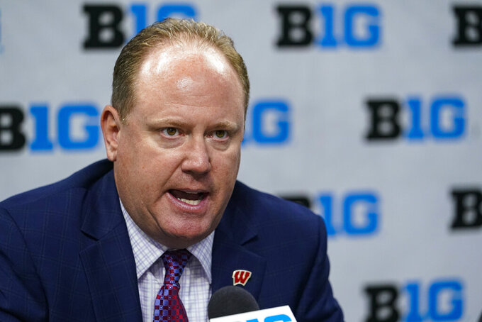 Wisconsin men's head coach Greg Gard speaks during the Big Ten NCAA college basketball media days in Indianapolis, Friday, Oct. 8, 2021. (AP Photo/Michael Conroy)