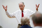In this June 30, 2021, photo Sen. Chuck Grassley, R-Iowa, speaks during a town hall meeting in Ida Grove, Iowa. (AP Photo/Charlie Neibergall)