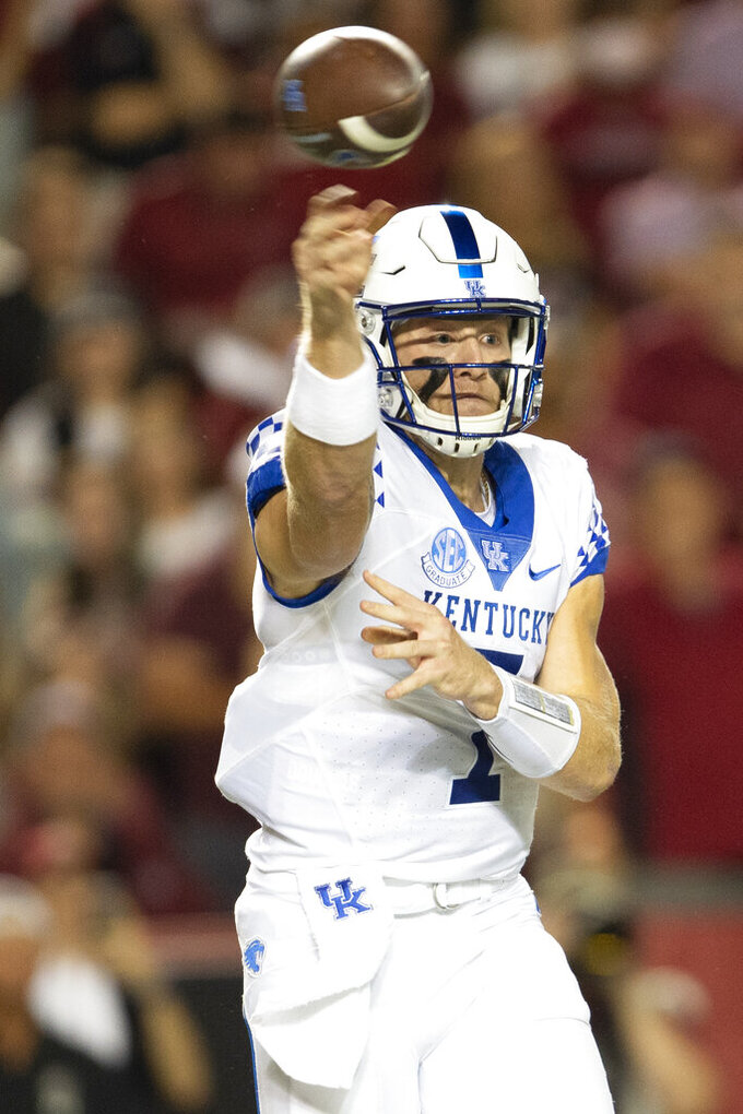 Kentucky quarterback Will Levis (7) completes a pass in the first half of an NCAA college football game against South Carolina, Saturday, Sept. 25, 2021, at Williams-Brice Stadium in Columbia, S.C. (AP Photo/Hakim Wright Sr.)