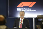 Formula One chairman Chase Carey speaks during a news conference at the Formula One U.S. Grand Prix auto race at the Circuit of the Americas, Thursday, Oct. 31, 2019, in Austin, Texas. (AP Photo/Darron Cummings)