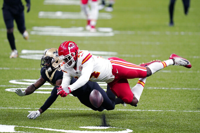 New Orleans Saints cornerback Janoris Jenkins breaks up a pass intended for Kansas City Chiefs wide receiver Sammy Watkins (14) in the second half of an NFL football game in New Orleans, Sunday, Dec. 20, 2020. (AP Photo/Butch Dill)