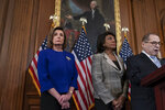 From left, Speaker of the House Nancy Pelosi, D-Calif., House Financial Services Committee Chairwoman Maxine Waters, D-Calif., and House Judiciary Committee Chairman Jerrold Nadler, D-N.Y., announce they are pushing ahead with two articles of impeachment against President Donald Trump — abuse of power and obstruction of Congress — charging he corrupted the U.S. election process and endangered national security in his dealings with Ukraine, at the Capitol in Washington, Tuesday, Dec. 10, 2019. (AP Photo/J. Scott Applewhite)