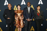 Actors, from left to right, Wes Studi, Rosa Salazar, Tyrese Gibson and Amandla Stenberg pose at the Academy Nicholl Fellowships in Screenwriting Awards and Live Read at the Academy of Motion Picture Arts and Sciences Samuel Goldwyn Theater on Thursday, Nov. 7, 2019, in Beverly Hills, Calif. (Photo by Danny Moloshok/Invision/AP)