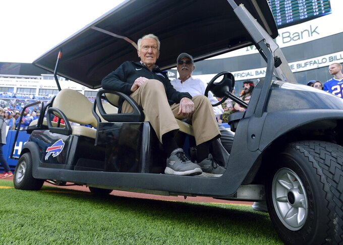 Former Buffalo Bills head coach Marv Levy watches the team warm up before an NFL football game between the Bills and the New England Patriots, Sunday, Sept. 29, 2019, in Orchard Park, N.Y. (AP Photo/Adrian Kraus)