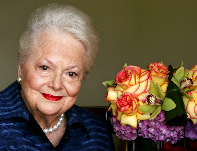 FILE - In this file photo dated Wednesday, Sept. 15, 2004, Actress Olivia de Havilland, who played the doomed Southern belle Melanie in