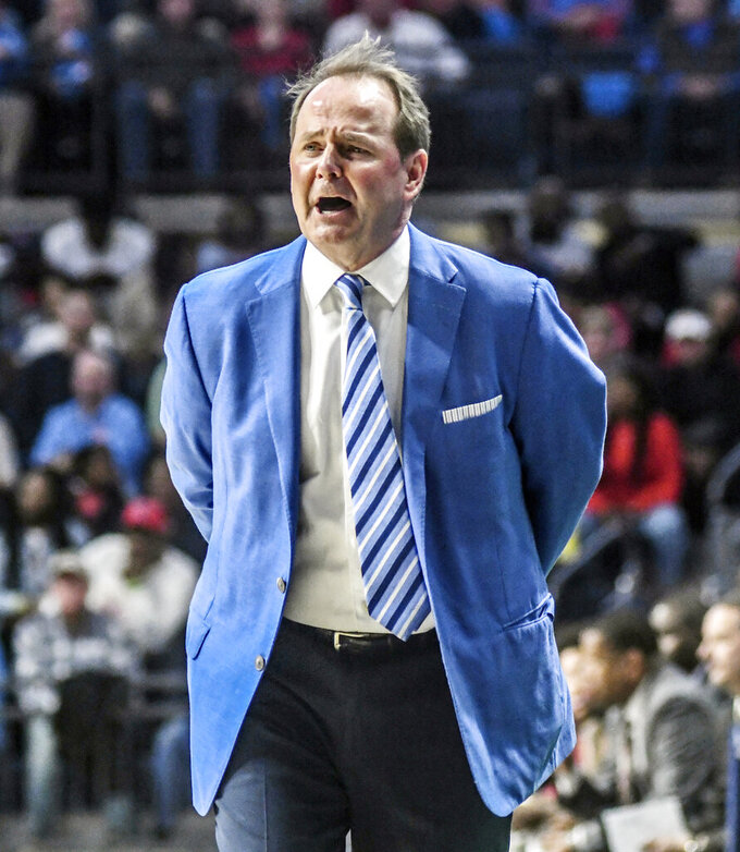 Mississippi coach Kermit Davis reacts during the second half against Iowa State of an NCAA college basketball game Saturday, Jan. 26, 2019, in Oxford, Miss. (Bruce Newman/Star-Telegram via AP)