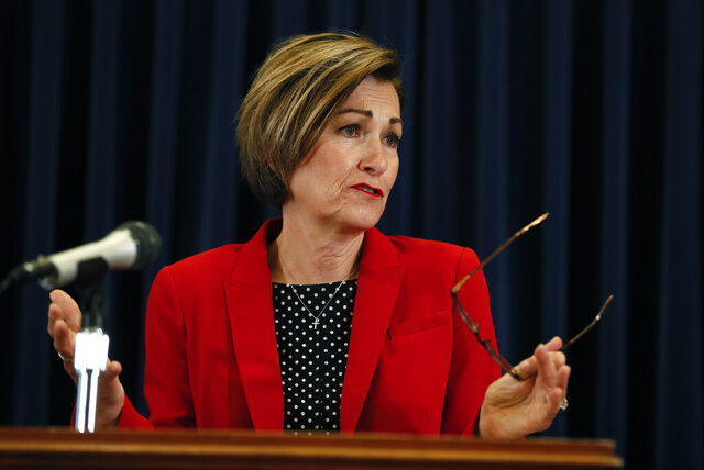 Iowa Gov. Kim Reynolds updates the state's response to the coronavirus outbreak during a news conference at the Statehouse, Tuesday, June 2, 2020, in Des Moines, Iowa. (AP Photo/Charlie Neibergall, pool)