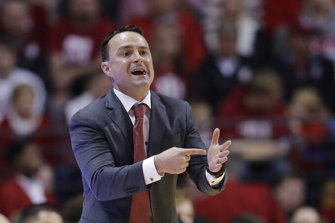 Indiana head coach Archie Miller calls a play during the first half of an NCAA college basketball game against Portland State, Saturday, Nov. 9, 2019, in Bloomington, Ind. (AP Photo/Darron Cummings)