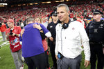 Ohio State head coach Urban Meyer smiles after Ohio State defeated Northwestern to win the Big Ten championship NCAA college football game, Saturday, Dec. 1, 2018, in Indianapolis. Ohio State won 45-24. (AP Photo/AJ Mast)