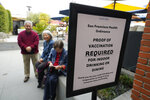 From left, Stephen Lee, Adrianne Tong and Audrey Tong, wait to have their vaccination records checked before entering the Waterbar restaurant Friday, Aug. 20, 2021, in San Francisco.  San Francisco became the first major city in the nation to require proof of full vaccination against COVID-19 on Friday for people dining inside restaurants, working out in gyms or attending indoor concerts.   (AP Photo/Eric Risberg)
