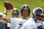 Pittsburgh Steelers quarterback Ben Roethlisberger (7) passes in a goal line drill during an NFL football training camp practice in Latrobe, Pa., Friday, July 26, 2019. (AP Photo/Keith Srakocic)