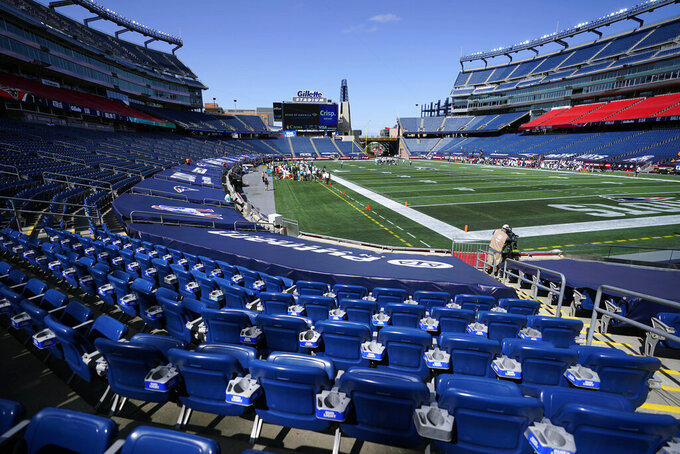The New England Patriots and Miami Dolphins play before empty stands during the coronavirus pandemic in the first half of an NFL football game, Sunday, Sept. 13, 2020, in Foxborough, Mass. (AP Photo/Charles Krupa)