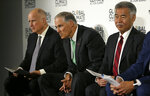 From left, California Gov. Jerry Brown, Washington Gov. Jay Inslee and Hawaii Gov. David Ige listen to questions during a news conference at the Global Action Climate Summit Thursday, Sept. 13, 2018, in San Francisco. (AP Photo/Eric Risberg)