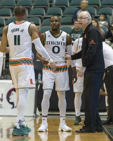 Jim Larranaga, Bruce Brown Jr., Ja'Quan Newton