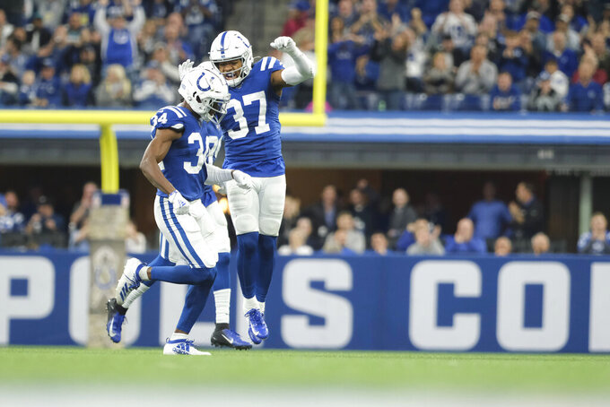 Indianapolis Colts cornerback Rock Ya-Sin (34) celebrates with Khari Willis (37) after Ya-Sin had an interception during the first half of an NFL football game against the Jacksonville Jaguars, Sunday, Nov. 17, 2019, in Indianapolis. (AP Photo/AJ Mast)