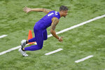 Clemson football player A.J. Terrell runs drills during NFL Pro Day Thursday, March 12, 2020, in Clemson, S.C. (AP Photo/Richard Shiro)