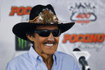 Richard Petty smiles during a NASCAR news conference at Pocono Raceway, Friday, May 31, 2019, in Long Pond, Pa. (AP Photo/Matt Slocum)