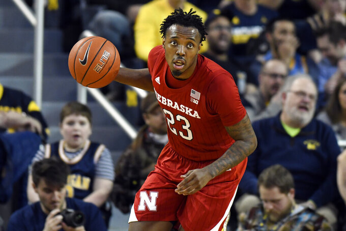 Nebraska guard Jervay Green runs upcourt during the first half of the team's NCAA college basketball game against Michigan, Thursday, March 5, 2020, in Ann Arbor, Mich. (AP Photo/Jose Juarez)