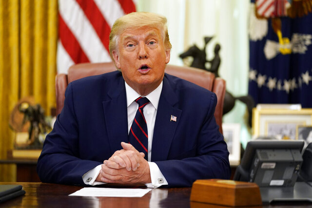 President Donald Trump speaks before participating in a signing ceremony with Serbian President Aleksandar Vucic and Kosovar Prime Minister Avdullah Hoti in the Oval Office of the White House, Friday, Sept. 4, 2020, in Washington. (AP Photo/Evan Vucci)