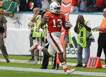 Miami running back DeeJay Dallas (13) runs win for a touchdown on a punt return during the first half of an NCAA college football game against Pittsburgh, Saturday, Nov. 24, 2018, in Miami Gardens, Fla. (AP Photo/Lynne Sladky)