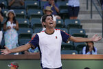 Taylor Fritz celebrates after defeating Jannik Sinner, of Italy, at the BNP Paribas Open tennis tournament Wednesday, Oct. 13, 2021, in Indian Wells, Calif. (AP Photo/Mark J. Terrill)