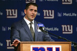 New York Giants new NFL football head coach Joe Judge speaks during an introductory news conference Thursday, Jan. 9, 2020, in East Rutherford, N.J. (AP Photo/Frank Franklin II)