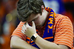 A Clemson fan reacts during the second half of a NCAA College Football Playoff national championship game against LSU, Monday, Jan. 13, 2020, in New Orleans. (AP Photo/David J. Phillip)