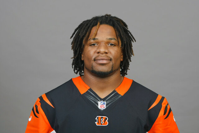 FILE - This is a 2012 file photo of Vontaze Burfict of the Cincinnati Bengals NFL football team. Former NFL player Burfict was arrested Saturday, Dec. 5, 2020, in Las Vegas. Court records indicate Burfict was arrested on suspicion of misdemeanor battery. (AP Photo, File)