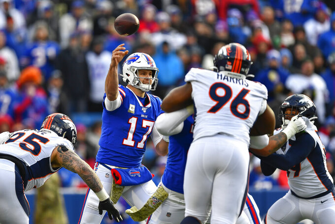 Buffalo Bills quarterback Josh Allen (17) passes against the Denver Broncos during the second quarter of an NFL football game, Sunday, Nov. 24, 2019, in Orchard Park, N.Y. (AP Photo/Adrian Kraus)