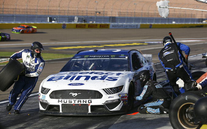 David Ragan pits during a NASCAR Cup Series auto race at the Las Vegas Motor Speedway on Sunday, Sept. 15, 2019. (AP Photo/Chase Stevens)