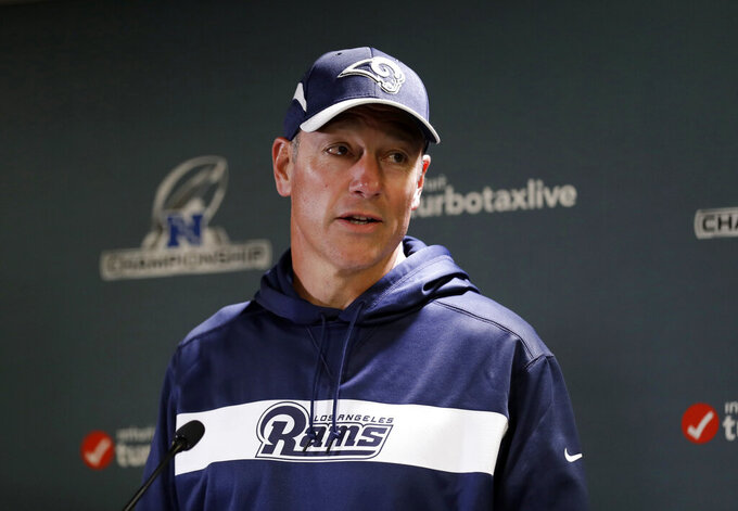 FILE - In this Jan. 16, 2019, file photo, Aaron Kromer speaks to reporters during a Los Angeles Rams news conference in Thousand Oaks, Calif. The Rams have mutually parted ways with Kromer, their offensive line coach and running game coordinator. The Rams on Thursday, Feb. 18, 2021, confirmed the departure of Kromer, who had been with the team since head coach Sean McVay's first season in 2017. Kromer added the title of run game coordinator in 2018. (AP Photo/Marcio Jose Sanchez, File)