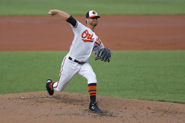 Baltimore Orioles starting pitcher Alex Cobb delivers a pitch to the Washington Nationals during an exhibition baseball game, Monday, July 20, 2020, in Baltimore. (AP Photo/Julio Cortez)