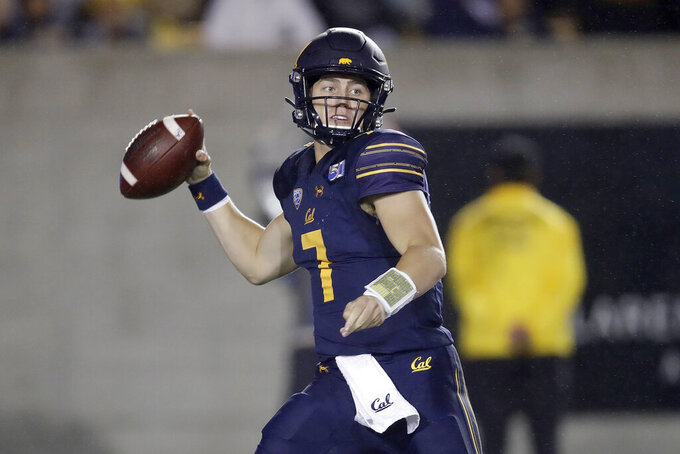 California quarterback Chase Garbers prepares to pass against Arizona State in the first half of an NCAA college football game, Friday, Sept. 27, 2019, in Berkeley, Calif. (AP Photo/Ben Margot)