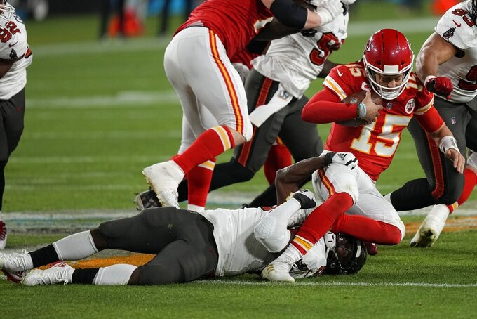 Tampa Bay Buccaneers outside linebacker Shaquil Barrett sacks Kansas City Chiefs quarterback Patrick Mahomes during the second half of the NFL Super Bowl 55 football game Sunday, Feb. 7, 2021, in Tampa, Fla. (AP Photo/David J. Phillip)