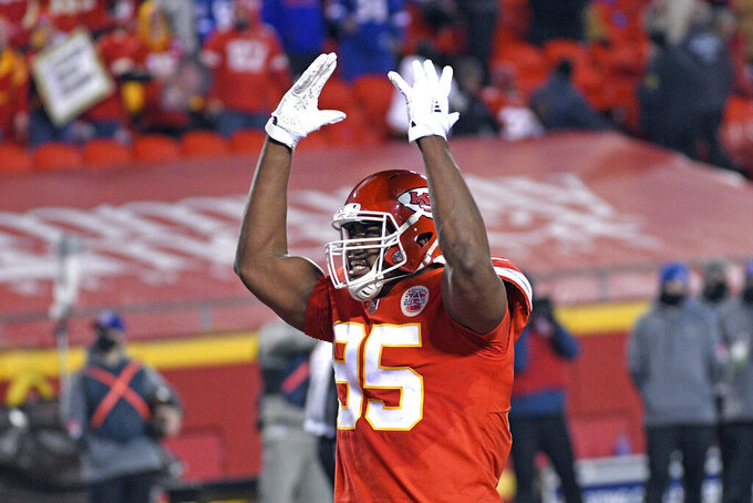 Kansas City Chiefs defensive tackle Chris Jones celebrates during the first half of the AFC championship NFL football game against the Buffalo Bills, Sunday, Jan. 24, 2021, in Kansas City, Mo. (AP Photo/Reed Hoffmann)
