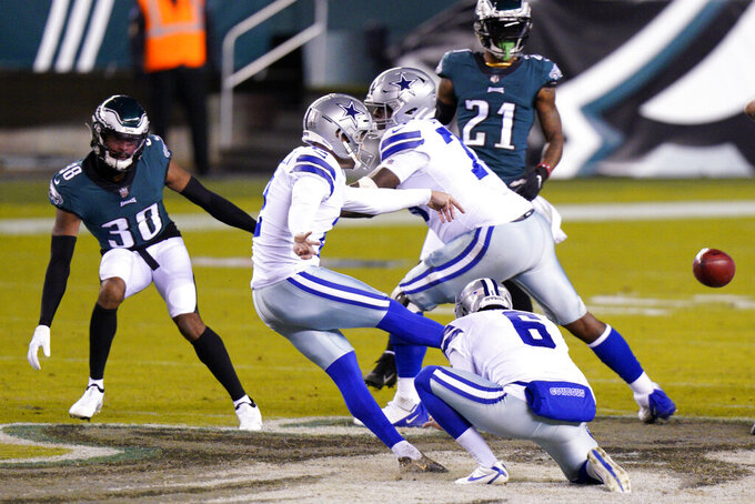 Dallas Cowboys' Greg Zuerlein (2) kicks a field goal during the first half of an NFL football game against the Philadelphia Eagles, Sunday, Nov. 1, 2020, in Philadelphia. (AP Photo/Chris Szagola)