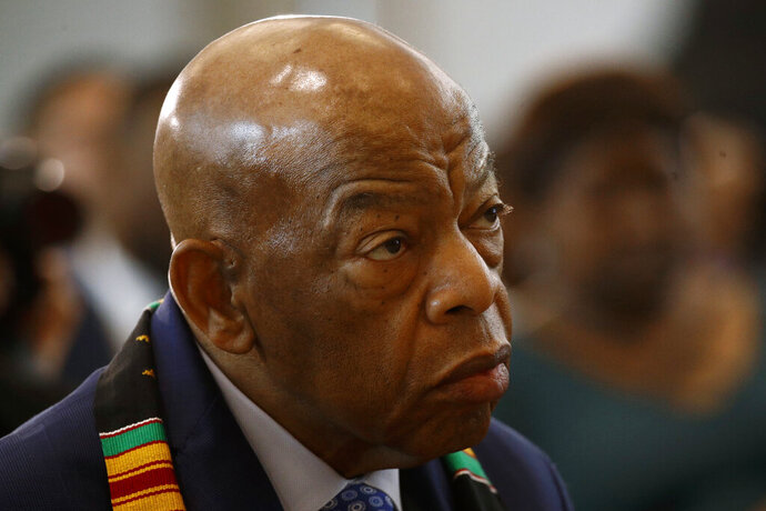 Rep. John Lewis, D-Ga., attends a ceremony to commemorate the 400th anniversary of the first recorded arrival of enslaved African people in America, Tuesday, Sept. 10, 2019, on Capitol Hill in Washington. (AP Photo/Patrick Semansky)